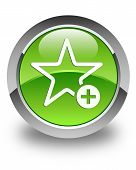 Add To Favorite Icon Glossy Green Round Button