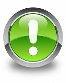 Exclamation Mark Icon Glossy Green Round Button