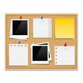 picture of bulletin board  - Bulletin board with photos and paper notes - JPG