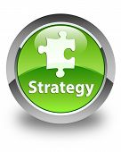 Strategy Glossy Green Round Button