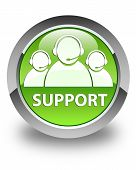 Support (Customer Care Team Icon) Glossy Green Round Button