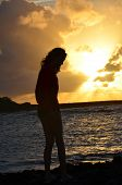 Girl Silhouette Against Oahu Sunset