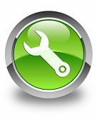 Wrench Icon Glossy Green Round Button