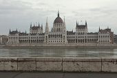 Hungarian Parliament on the embankment of the Danube in Budapest, Hungary.