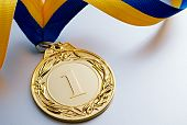 Gold Medal On A Light Background