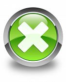 Cancel Icon Glossy Green Round Button