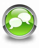 Chat Bubble Icon Glossy Green Round Button