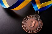 Bronze Medal On A Dark Background