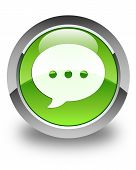 Conversation Icon Glossy Green Round Button