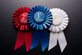 1St, 2Nd And 3Rd Place Pleated Ribbon Rosettes