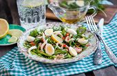 Fresh Squid, Eggs And Arugula Salad