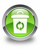 Trash Icon Glossy Green Round Button