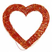 Big Red Heart Made Of Fibre, Isolated On White Background, 3D Rende