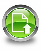 Upload Document Icon Glossy Green Round Button