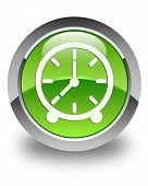 Clock Icon Glossy Green Round Button