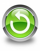 Refresh Arrow Icon Glossy Green Round Button