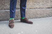 Detail Of Shoes Outside John Richmond Fashion Show Building For Milan Men's Fashion Week 2015