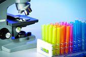 Scientific microscope. Medical laboratory background. Health care