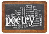poetry word cloud on an isolated vintage blackboard
