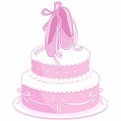 image of ballet shoes  - Illustration of a girl birthday cake decorated with ballet shoes - JPG