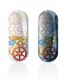 vector symbolic illustration of abstract futuristic transparent pills with gears