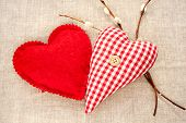 Two Homemade Sewed Red Cotton Love Hearts With Spring Willow Twig