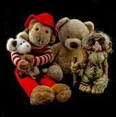 picture of troll  - A teddy bear with a troll for a buddy and a well dressed monkey and rat accompanying them - JPG