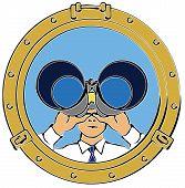 Man Looking Through Portal With Binoculars