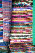 Colorful Stacked Fabric Cloth In  Big Market, Kathmandu, Nepal