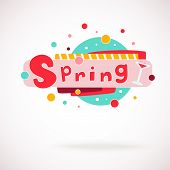 Vector colorful word SPRING with glass of v