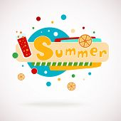 Vector colorful word SUMMER with glass of juice and orange slices and hand written text (scrapbook a
