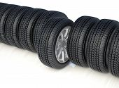 High Detaled Winter Tyres Isolated On White Background