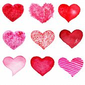 Hand Drawn Valentine's Day Hearts Set. Design Elements - Collection Of Abstract Red Love Heart Shape