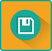 Floppy disk download. Flat modern web button