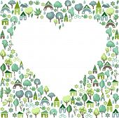 I love summer countryside. Heart made of different summer objects.