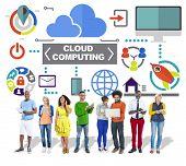 People Digital Device Global Communications Cloud Computing Concept