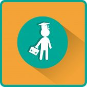 Pupil  in Mortarboard. Flat Vector Icon