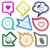 Heart shape set. Paper stickers. Vector illustration.