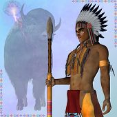 pic of spears  - An American Indian in tribal clothing and bonnet with spear stands in front of an American bison - JPG