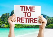 stock photo of retirement  - Time to Retire card with a beach on background - JPG