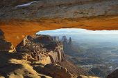 View Through The Mesa Arch In Canyonlands National Park, Utah In Winter