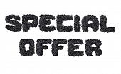 Text Special Offer made of black caviare