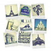 Set of old instant photos of Paris