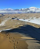 Trails In Great Sand Dunes National Park, Colorado During Winter