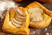 Triangle Wraps Of Puff Pastry With Pear