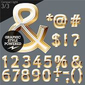 Vector alphabet of beveled golden letters. Compact light. File contains graphic styles available in Illustrator. Set 3