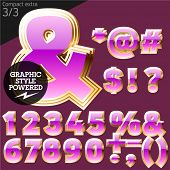 Pink font with golden border. Compact extra. File contains graphic styles available in Illustrator. Set 3