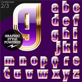 Violet font with golden border.Condensed. File contains graphic styles available in Illustrator. Set 2
