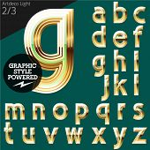 Vector alphabet of beveled golden letters. Art-deco light. File contains graphic styles available in Illustrator. Set 2