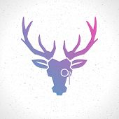Deer head silhouette isolated on white background vintage vector design element illustration